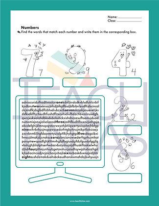 Numbers worksheet (english)