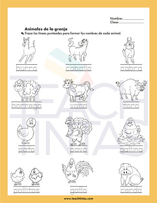 Farm worksheet (spanish)