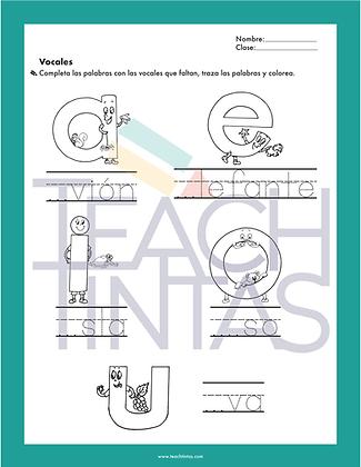 Vowels worksheets (spanish)