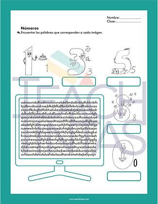 Numbers worksheet (spanish)