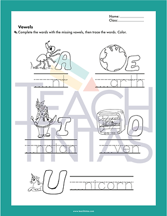 Vowels worksheet (english)