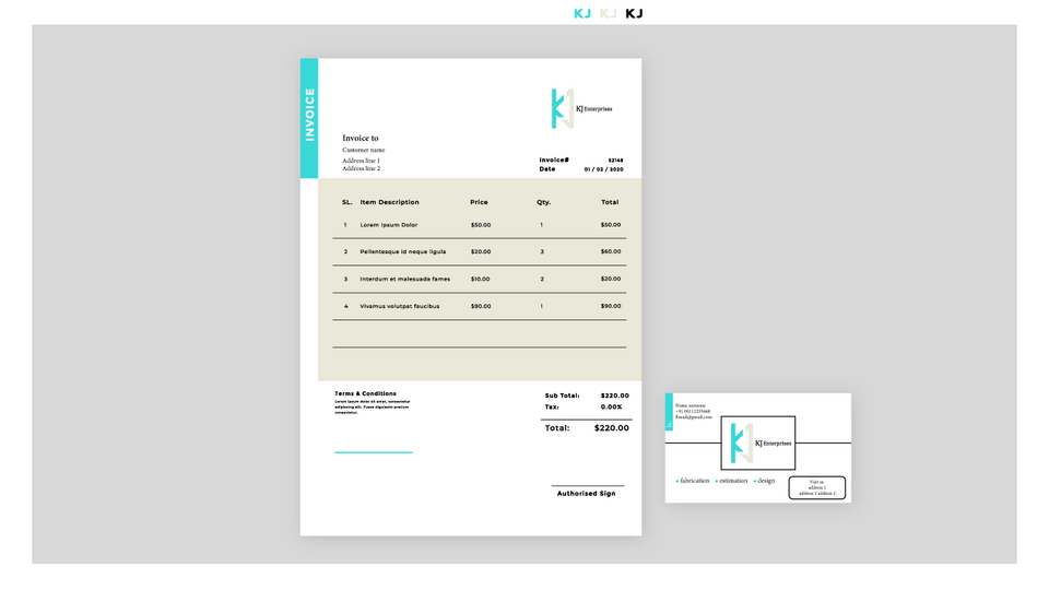 Invoice template for KJ enterprises