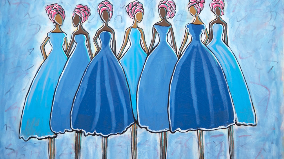 Women in Blue Dresses