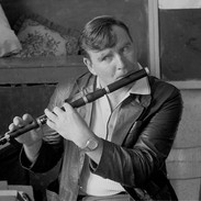 Bill MacNamara playing for his flute class, 1985.