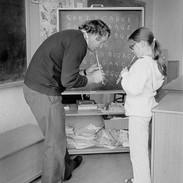 Mick Crehan teaching tin whistle, 1976.