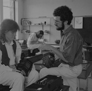 Noel Hill (right) with one of his concertina students, 1987.