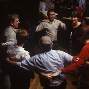 Set dancers at an evening céilí in the Quilty Tavern 1996.