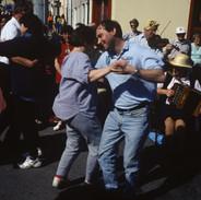 Set dancers enjoy an outdoor impromptu céilí 1996.