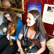 Clare Friel (fiddle) and Síle Friel (uilleann pipes) 2009.