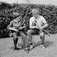 Seán Potts playing with his son Séan Óg in the mid 1970s.