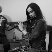 Cathal McConnell and Louise Mulcahy backstage at the 2013 whistle and flute recital.
