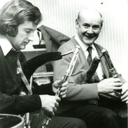 Liam Ó Floinn (left) playing with Willie Clancy in the early 1970s.  Photo by Mal Whyte.