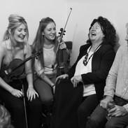 Doireann and Siún Ní Ghlacáin, Bernadette McCarthy and Dermy Diamond backstage during the 2014 fiddle recital.