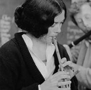 A student in Darach de Brún's whistle & flute class, 1976.
