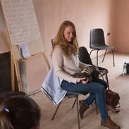 Caitlín Nic Gabhann with her concertina class 2017.