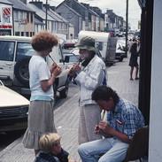Whistle students practising in Miltown Malbay's main street 1992.