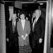 President Mary Robinson, flanked by Junior Crehan (left) and Muiris Ó Rócháin, prior to opening the 21st Scoil Samhraidh Willie Clancy in 1993.