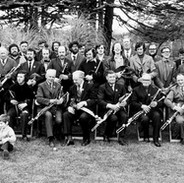 Pipers gathered at the 1972 Tionól in Termonfeckin, Co. Louth. Willie Clancy sits at the front, sixth from the left. This would be his last Tionól as he died in January 1973.  Photo courtesy of NPU.