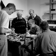 Dave Hegarty demonstrating reed making techniques with Peter Carberry (centre left) watching on 1998.