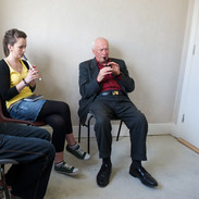 Michael Falsey with two of his tin whistle students 2009.
