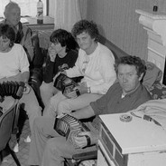 Tommy McCarthy (foreground) with his concertina class, 1980s.