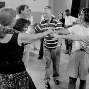 Joe (centre) and Siobhán (far left) O'Donovan teaching beginner's set dancing class, 1992.