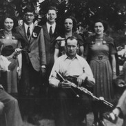 Pádraig Ó Mathúna and Willie Clancy with Irish dancers at the 1951 Celtic Congress in Brittany, Photo courtesy of Pádraig Ó Mathúna.