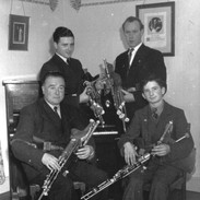 The Rowsome Quartet, circa 1952, with Leo and Leon Rowsome seated, Seán Seery and Willie Clancy standing. Photo courtesy of Helena Rowsome-Grimes and NPU.