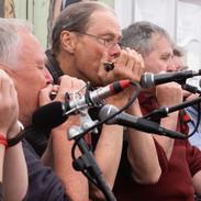 Mick Kinsella, Rick Epping and Johnny Hehir at the 2019 harmonica recital.
