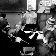 Marcas Ó Murchú (centre) with his flute class 2002.