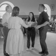 Marty O'Malley (right) and others demonstrating a set dance, 1985.