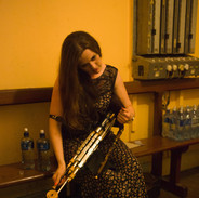 Síle Friel tuning up before performing at the 2013 uilleann pipes recital.