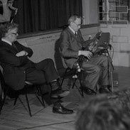 Séamus Ennis playing with Breandán Breathnach listening, late 1970s.