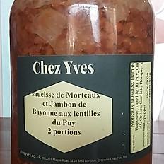 Saucisse de Morteaux et jambon de Bayonne aux lentilles du Puy in Jar 1015ml