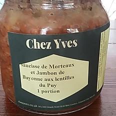 Saucisse de Morteaux et jambon de Bayonne aux lentilles du Puy in jar 530ml