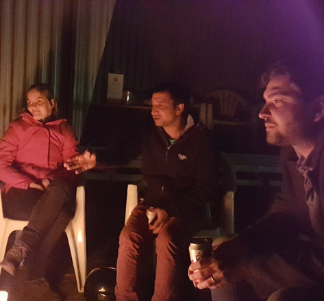 With Romanian and Belgian friends