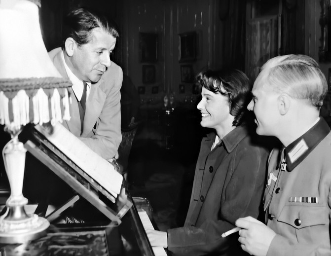 The director Compton Bennett, Maria Schell and Marius Goring
