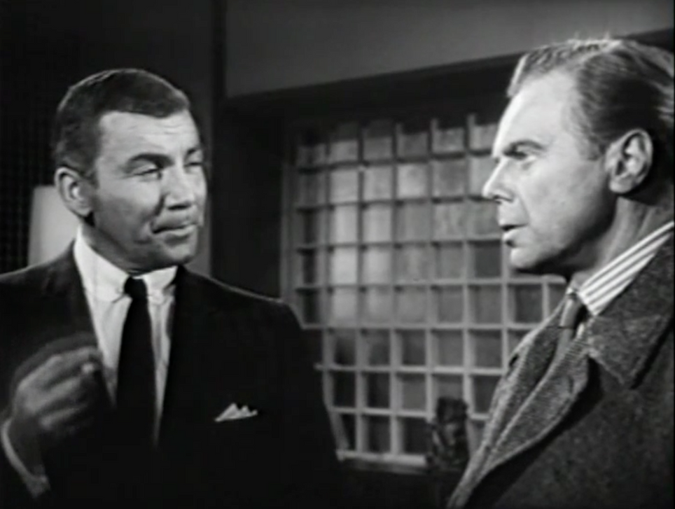 Cameron Mitchell as James Kennedy and Marius Goring as Inspector Hazelrigg in The Unstoppable Man 1961