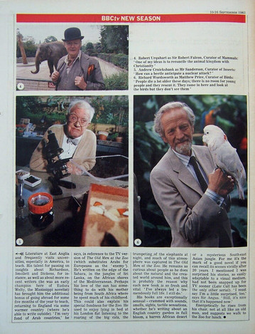 The Old Men at the Zoo Article in The Radio Times 10-16 September 1983