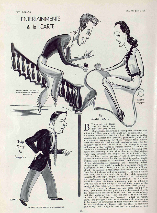 'Satyr' review Page 1 by Alan Bott in The Tatler 7 July 1937. Illustrations by Tom Titt