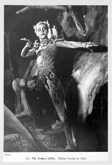 """Marius Goring as Ariel in Shakespeare's 'The Tempest' at the Old Vic June 1940. """"To fly, to swim, to dive into the fire, to ride on the curl'd clouds; to thy strong bidding task Ariel, and all his quality"""" Marius Goring plays Ariel with fire, speed and strength."""