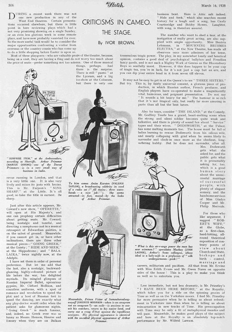 'Surprise Item' review in The Sketch 16 March 1938 by Ivor Brown. Sketches by Robert Stewart Sherriffs