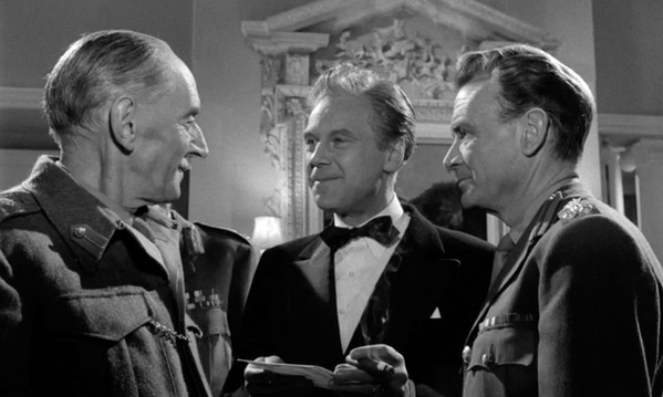 M E Clifton James, Marius Goring and John Mills in I Was Monty's Double 1958