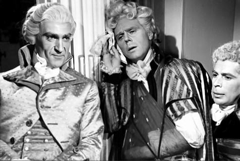 Patrick Troughton as Sir Andrew Ffoulkes, Marius Goring as Sir Percy Blakeney and Anthony Newlands as Lord Richard Hastings