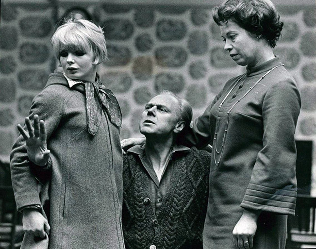 Marius rehearsing 'The Bells' with Elizabeth Knight as Annette and Kathleen Michael as Catherine in a Hampton Court pub near his home. He directed and appeared as 'Mathias' which played at the Vaudeville Theatre, London in January 1968