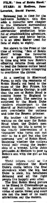 Son of Robin Hood review Middlesex Independant W. London Star 20 March 1959