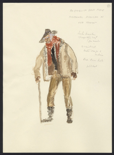 The Motley Group costume sketch of the Pimpernel as an old peasant in 'An English Gold Piece' an episode that was never filmed