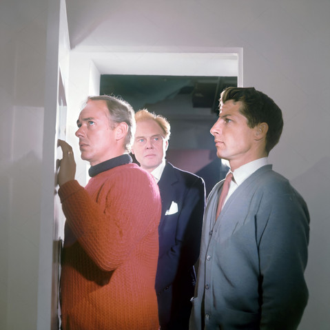 Michael Bryant as Walter Luke, Marius Goring as Lewis Eliot, and Lyndon Brook as Martin Eliot in the ITV Play of the Week Season 12 Episode 10 'The New Men'.