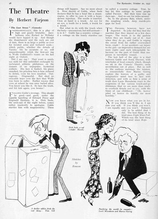 Review of 'The Last Straw' at the Comedy Theatre 1937 by Herbert Farjeon with sketches by Rouson. The Bystander 20 October 1937