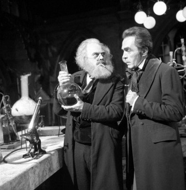 John Bailey as Edward Waterfield and Marius Goring as Theodore Maxtible in Doctor Who Season 4 Episode 2 'The Evil of the Daleks'. Directed by Derek Martinus and written by David Whitaker and Sydney Newman. Broadcast 27 May 1967